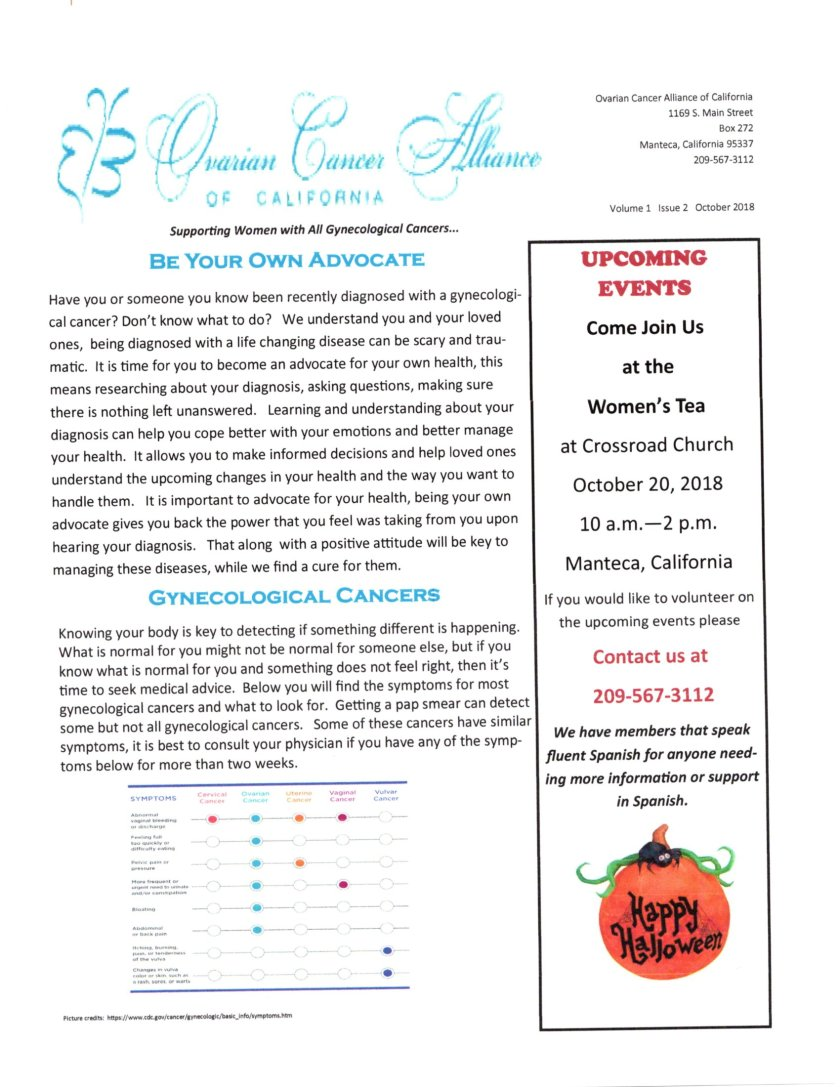 Ovarian Cancer Newsletter October Page 1