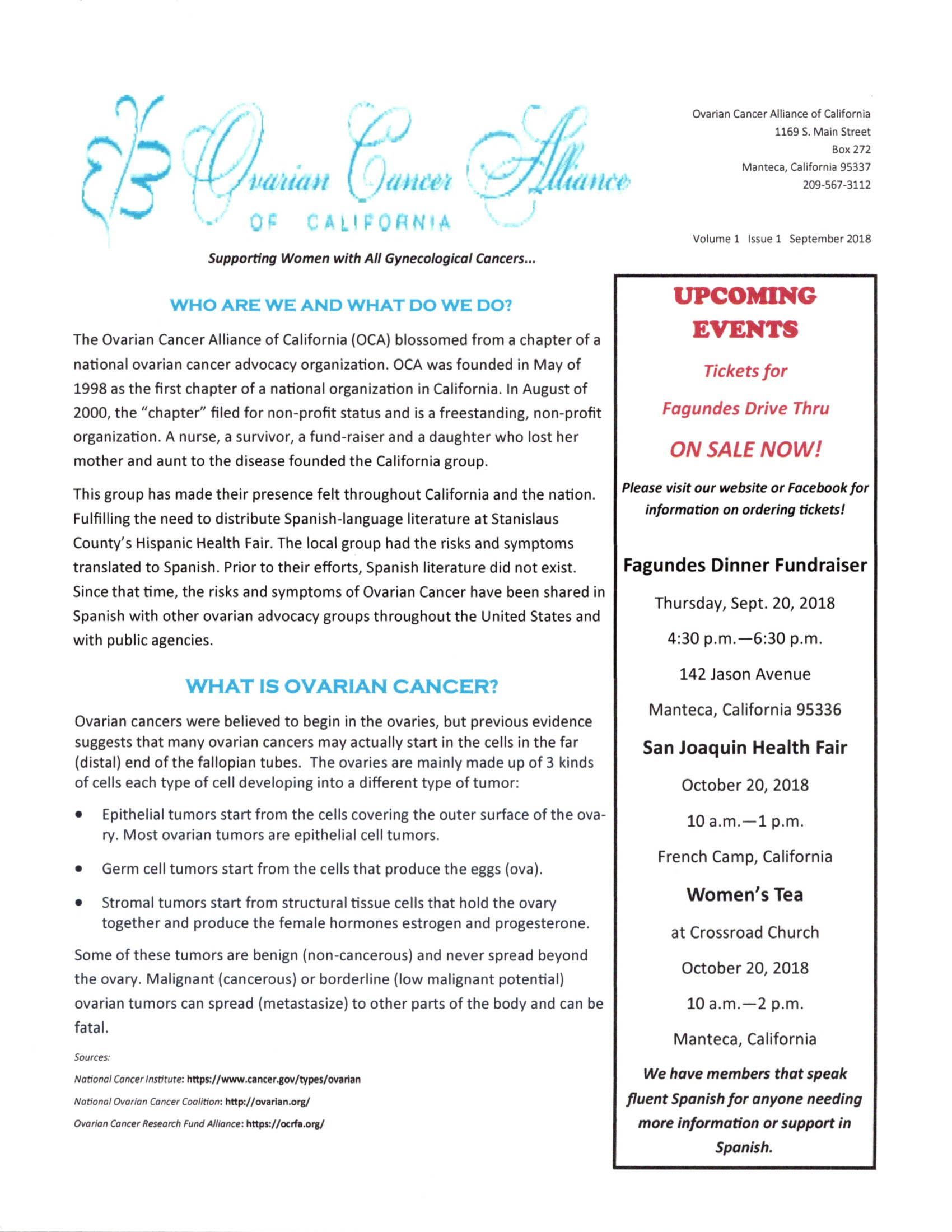 Ovarian cancer Newsletter September Page 1